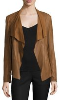Neiman Marcus Pick-Stitch Draped-Front Suede Jacket, Chestnut