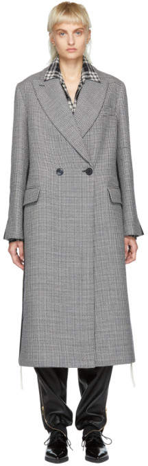 Stella McCartney Black and White Long Houndstooth Duster Coat