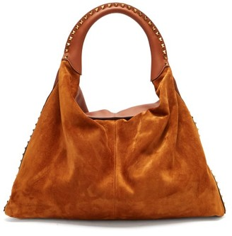Valentino Rockstud Leather And Suede Bag - Tan