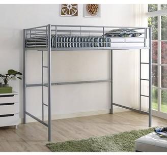 Walker Edison Full Size Premium Metal Loft Bed - Silver