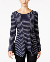 NY Collection Petite Striped Handkerchief-Hem Top