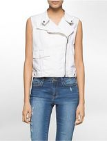 Calvin Klein Womens Cotton Moto Vest Jacket