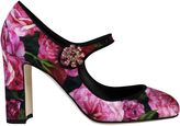 Dolce & Gabbana Black Roses Print Mary Jane Pumps