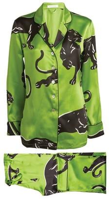 Olivia von Halle Silk Lila Panther Print Pyjama Set
