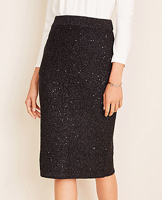 Ann Taylor Petite Sequin Sweater Pencil Skirt