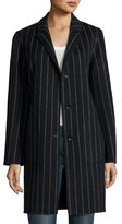 Rag & Bone Sidney Chalk-Stripe Single-Breasted Coat, Black/White