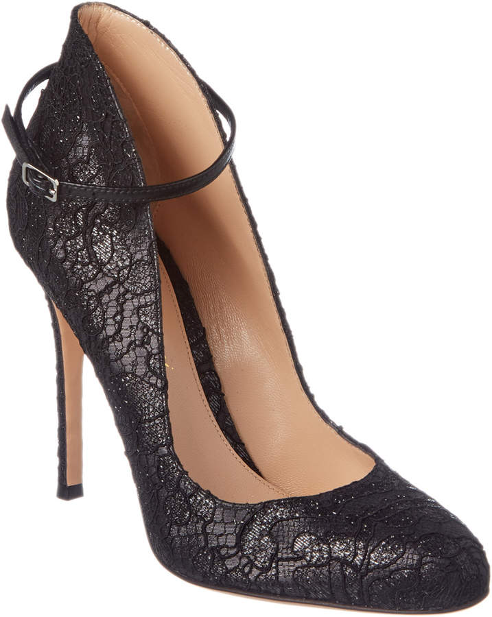 Gianvito Rossi Rioko Lace & Leather Ankle Strap Pump