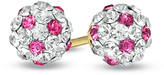 Zales Child's Rose and White Crystal Ball Earrings in 14K Gold