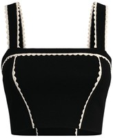 Sandro Paris Knit Contrast-Trim Crop Top