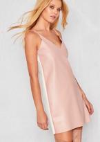 Missy Empire Kaira Pink Two Tone Faux Leather Slip Dress