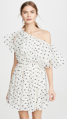 Giambattista Valli One Shoulder Tulle Polka Dot Mini Dress