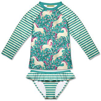 Millie Loves Lily Girls' Bikini Bottoms Lucky - Turquoise Lucky Unicorn & Stripe Ruffle Rashguard Set - Infant, Toddler & Girls
