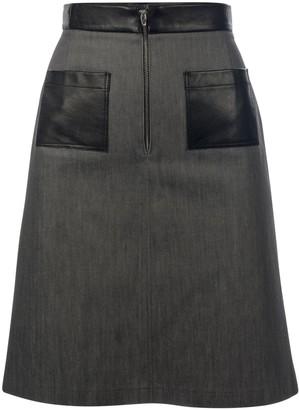 Muza Denim & Leather A-Line Skirt