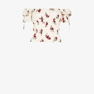 Reformation Solis floral print ruched top