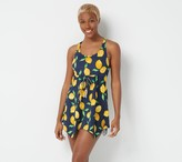 Denim & Co. Beach Scoop Neck Handkerchief Hem Swim Dress