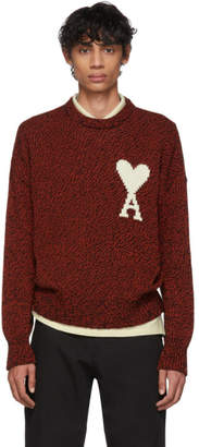 Ami Alexandre Mattiussi Red and Black Oversized Ami De Coeur Sweater