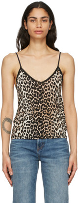 Ganni Black and Brown Slip Tank Top