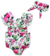 Mapletop Floral Flower Pom Rompers Jumpsuit For Baby Girls with Headband