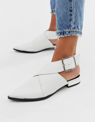 Asos Design DESIGN Marco pointed flat shoes in white croc
