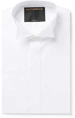 White Slim-Fit Wing-Collar Double-Cuff Cotton-Poplin Shirt