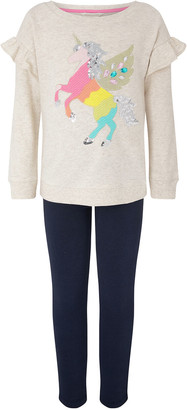 Monsoon Unicorn Sweatshirt Set in Organic Cotton Camel