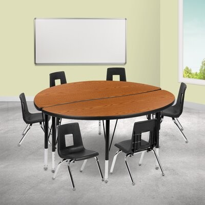 """Thumbnail for your product : Flash Furniture 9 Piece Adjustable Height Circular Activity Table & 14"""" Chair Set Tabletop Finish: Oak, Size: 48"""" L x 48"""" W, Adjustable Height: 16.2"""""""