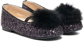 Babywalker Pompom Glitter Ballerina Shoes