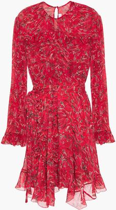 IRO About Ruffled Printed Georgette Mini Dress