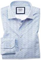Classic Fit Semi-cutaway Business Casual White And Blue Ditsy Print Cotton Formal Shirt Single Cuff Size 15.5/33