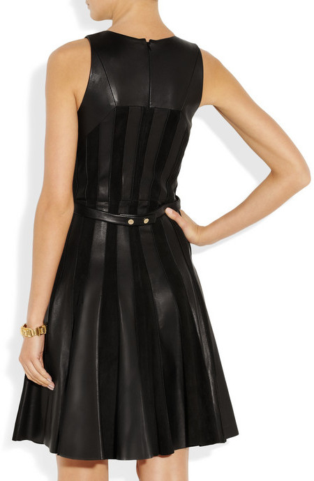 Jason Wu Leather and suede pleated dress