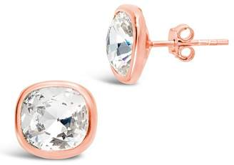 Sterling Forever 14K Rose Gold Vermeil Cushion Cut Cubic Zirconia Stud Earrings
