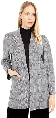 J.Crew Sophie Open-Front Sweater-Blazer in Glen Plaid (Ivory Heather Charcoal) Women's Clothing