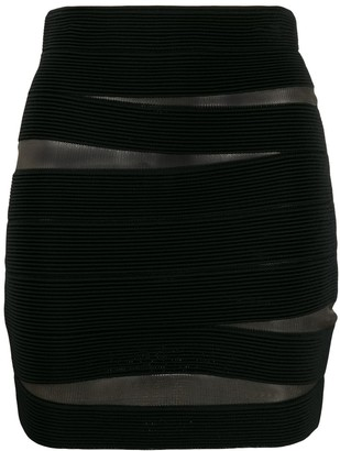 Balmain Sheer Fitted Mini Skirt