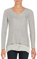 Context V-Neck Layered Metallic Sweater