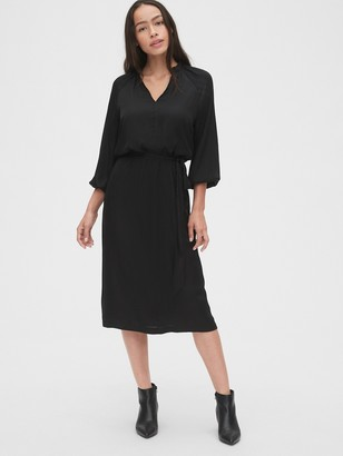 Gap Split-Neck Midi Dress