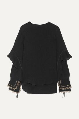 Chloé Ruffled Metallic-trimmed Silk-seersucker Blouse - Black