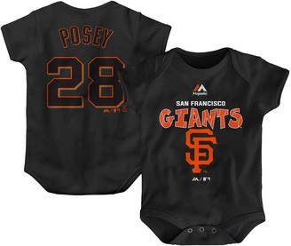 Majestic Newborn & Infant Buster Posey Black San Francisco Giants Stitched Player Name & Number Bodysuit