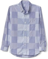 Patchwork plaid long sleeve shirt