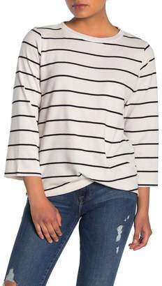 MelloDay Striped Twist Hem Long Sleeve Pullover