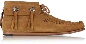 Saint Laurent Fringe-trimmed Appliqued Suede Ankle Boots