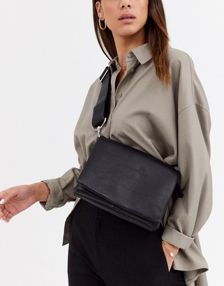 And other stories & leather multi compartment cross-body bag in black