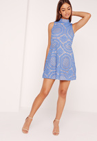 Missguided High Neck Lace Skater Dress Blue