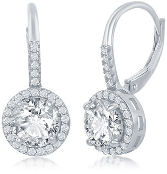 Simona Jewelry Sterling Silver Round-Cut CZ Halo Drop Earrings