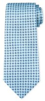 Armani Collezioni Geometric Box-Print Silk Tie, Aqua