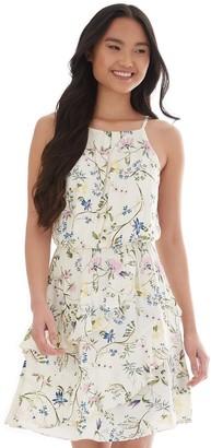 Iz Byer Juniors' Floral Asymmetrical Ruffle Dress