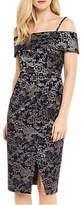 Oasis Jacquard Floral Bardot Pencil Dress, Multi Blue
