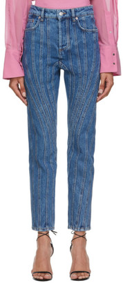 Thierry Mugler Blue Girlfriend Twist Jeans