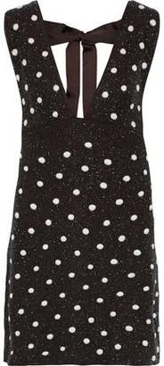Ganni Farrow Bow-detailed Embellished Georgette Mini Dress