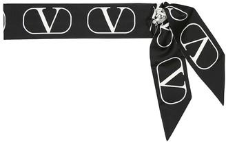Valentino VLOGO reversible silk-twill scarf