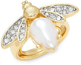 Kenneth Jay Lane Goldtone, Faux Pearl Crystal Bee Ring